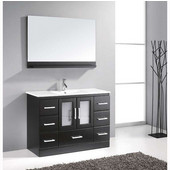 Zola 48'' Single Bathroom Vanity Set in Espresso, Slim White Ceramic Top with Integrated Square Sink, Faucet Available in 2 Finishes, Mirror with Shelf Included