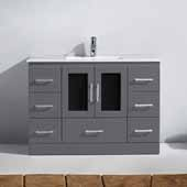 Zola 48'' Single Bathroom Vanity Set in Grey, Slim White Ceramic Top with Integrated Square Sink, Polished Chrome Faucet
