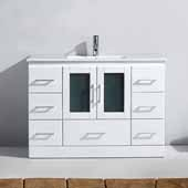 Zola 48'' Single Bathroom Vanity Set in White, Slim White Ceramic Top with Integrated Square Sink, Polished Chrome Faucet