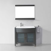 Ava 36'' Single Bathroom Vanity in Grey with White Engineered Stone Top, Round Sink, Polished Chrome Faucet and Mirror