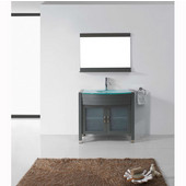 Ava 36'' Single Bathroom Vanity Set in Grey, Aqua Tempered Glass Top with Integrated Glass Round Sink, Faucet Available in 2 Finishes, Mirror Included