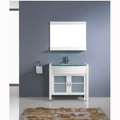 Ava 36'' Single Bathroom Vanity Set in White, Aqua Tempered Glass Top with Integrated Glass Round Sink, Faucet Available in 2 Finishes, Mirror Included