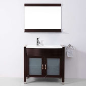 Ava 36'' Single Bathroom Vanity in Espresso with White Engineered Stone Top, Round Sink, Polished Chrome Faucet and Mirror