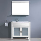 Ava 36'' Single Bathroom Vanity in White with White Engineered Stone Top and Round Sink, Polished Chrome Faucet and Mirror