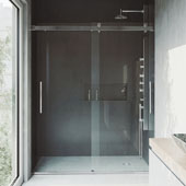 Caspian Adjustable Frameless Sliding Shower Door in Chrome, 73-1/2''H