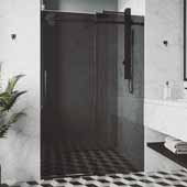 56-60'', Elan Shower Door in Black, 60''W x 3''D x 74''H