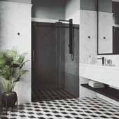 68-72' Elan Shower Door in Black, 72'W x 3'D x 74'H