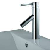 Single Handle Chrome Finish Faucet, Down Angle
