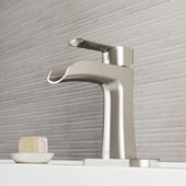 Paloma Single Hole Bathroom Faucet With Deck Plate In Brushed Nickel