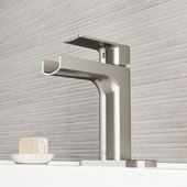Ileana Single Hole Bathroom Faucet with Deck Plate in Brushed Nickel