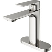 Davidson Single Hole Bathroom Faucet with Deck Plate in Brushed Nickel, Faucet Height: 6-3/8'', Spout Height: 4-3/8'', Spout Reach: 5-1/4''