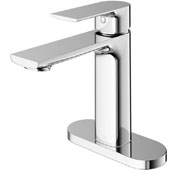 Davidson Single Hole Bathroom Faucet with Deck Plate in Chrome, Faucet Height: 6-3/8'', Spout Height: 4-3/8'', Spout Reach: 5-1/4''