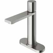 VIGO Halsey Single Hole Bathroom Faucet in Brushed Nickel with Deck Plate, Faucet Height: 8-1/8'' Spout Height: 5-1/2'' Spout Reach: 6-1/8''