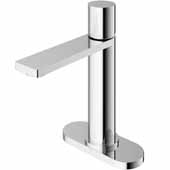 VIGO Halsey Single Hole Bathroom Faucet in Chrome with Deck Plate, Faucet Height: 8-1/8'' Spout Height: 5-1/2'' Spout Reach: 6-1/8''