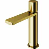 VIGO Halsey Single Hole Bathroom Faucet in Matte Gold, Faucet Height: 6-3/8'' Spout Height: 4-3/8'' Spout Reach: 5-1/4''