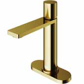 VIGO Halsey Single Hole Bathroom Faucet in Matte Gold with Deck Plate, Faucet Height: 8-1/8'' Spout Height: 5-1/2'' Spout Reach: 6-1/8''