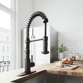 Edison Pull-Down Spray Kitchen Faucet With Deck Plate In Matte Black