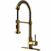 Edison Pull-Down Spray Kitchen Faucet in Matte Gold with Deck Plate, Faucet Height: 18-1/2'', Spout Reach: 9-1/2''