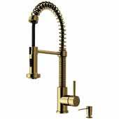 Edison Pull-Down Spray Kitchen Faucet in Matte Gold with Soap Dispenser, Faucet Height: 18-1/2'', Spout Reach: 9-1/2''