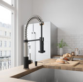 Edison Pull-Down Spray Kitchen Faucet in Stainless Steel/Matte Black, Faucet Height: 18-1/2'', Spout Reach: 9-1/2''