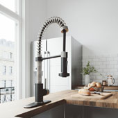 Edison Pull-Down Spray Kitchen Faucet With Soap Dispenser In Matte Black