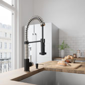 Edison Pull-Down Spray Kitchen Faucet With Soap Dispenser In Stainless Steel/Matte Black