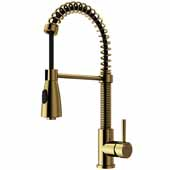 VIGO Brant Pull-Down Spray Kitchen Faucet, Matte Gold, Faucet Height: 18-1/2'', Spout Reach: 8-1/4'', Hose Reach: 30''