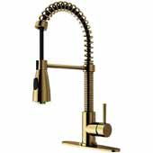 Brant Kitchen Faucet, Matte Black/Matte Gold with Deck Plate, Faucet Height: 18-1/2'', Spout Reach: 8-1/4'', Hose Reach: 30''