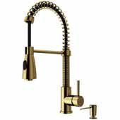 Brant Kitchen Faucet with Soap Dispenser, Matte Gold , Faucet Height: 18-1/2'', Spout Reach: 8-1/4'', Hose Reach: 30''