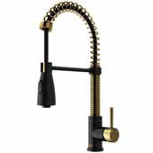 VIGO Brant Pull-Down Spray Kitchen Faucet, Matte Black/Matte Gold, Faucet Height: 18-1/2', Spout Reach: 8-1/4', Hose Reach: 30''