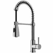 VIGO Brant Pull-Down Spray Kitchen Faucet, Stainless Steel, Faucet Height: 18-1/2'', Spout Reach: 8-1/4'', Hose Reach: 30''