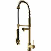 Chrome Curved Pull-Down Spray Kitchen Faucet in Matte Gold