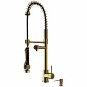 Chrome Curved Pull-Down Spray Kitchen Faucet with Soap Dispenser in Matte Gold