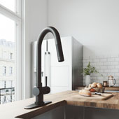 Gramercy Pull-Down Kitchen Faucet With Deck Plate In Matte Black, Faucet Height: 17'' Spout Reach: 7-7/8''