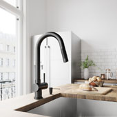 Gramercy Pull-Down Kitchen Faucet With Soap Dispenser In Matte Black, Faucet Height: 17'' Spout Reach: 7-7/8''