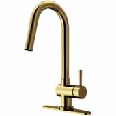 Gramercy Pull-Out Spray Kitchen Faucet with Deck Plate in Matte Gold, Faucet Height: 17'' Spout Reach: 7-7/8''