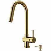 Gramercy Pull-Out Spray Kitchen Faucet with Soap Dispenser in Matte Gold, Faucet Height: 17'' Spout Reach: 7-7/8''