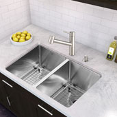 Branson Pull-Out Spray Kitchen Faucet in Stainless Steel, Faucet Height: 8-3/4'', Spout Reach: 8-1/4''