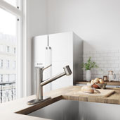Branson Pull-Out Spray Kitchen Faucet with Deck Plate in Stainless Steel, Faucet Height: 8-3/4'', Spout Reach: 8-1/4''