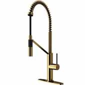 Livingston Magnetic Kitchen Faucet with Deck Plate in Matte Gold, Faucet Height: 23 1/2',  Spout Reach: 9 3/8'