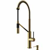 Livingston Magnetic Kitchen Faucet with Soap Dispenser in Matte Gold, Faucet Height: 23 1/2',  Spout Reach: 9 3/8'