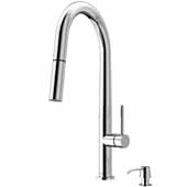 Greenwich Pull-Down Spray Kitchen Faucet with Soap Dispenser in Chrome, Faucet Height: 18'', Spout Reach: 9-1/4''