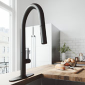Greenwich Pull-Down Spray Kitchen Faucet With Deck Plate In Matte Black