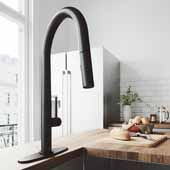 Greenwich Pull-Down Spray Kitchen Faucet with Deck Plate in Matte Black, Faucet Height: 18', Spout Reach: 9 1/4'