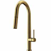 Greenwich Pull-Down Spray Kitchen Faucet in Matte Gold, Faucet Height: 18'', Spout Reach: 9-1/4''
