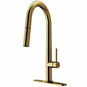 Greenwich Pull-Down Spray Kitchen Faucet with Deck Plate in Matte Gold, Faucet Height: 18'', Spout Reach: 9-1/4''