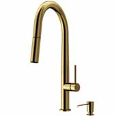 Greenwich Pull-Down Spray Kitchen Faucet with Soap Dispenser in Matte Gold, Faucet Height: 18', Spout Reach: 9 1/4'