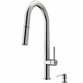 Greenwich Pull-Down Spray Kitchen Faucet with Soap Dispenser in Stainless Steel, Faucet Height: 18'', Spout Reach: 9-1/4''
