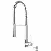 VIGO Laurelton Pull-Down Spray Kitchen Faucet with Soap Dispenser In Chrome, : Faucet Height 22-3/8'', Spout Reach: 9-3/8''