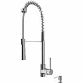 VIGO Laurelton Pull-Down Spray Kitchen Faucet with Soap Dispenser In Stainless Steel, : Faucet Height 22-3/8'', Spout Reach: 9-3/8''